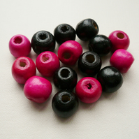 16 Cerise Pink and Black Round Wooden Beads