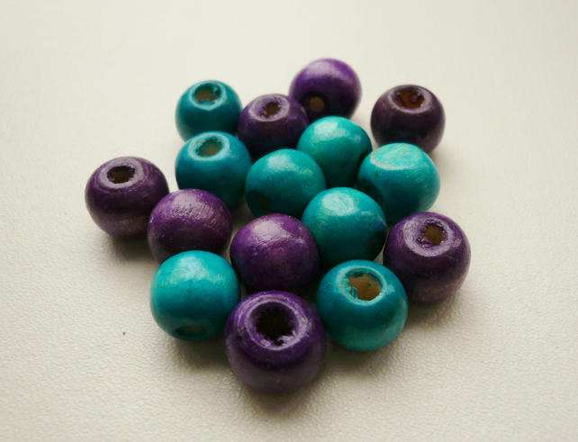 16 Purple and Turquoise Round Wooden Beads