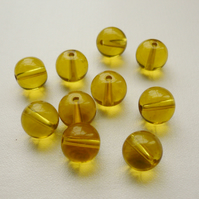 10 Clear Gold Round Glass Beads