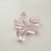 5 Clear Pink Glass Drop Beads
