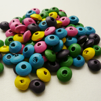 50  Small Wooden Rondelle Disc Beads