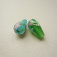 2 Indian Painted Glass Drop Beads