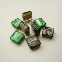 8 Foiled Lined Flat Square Beads