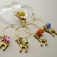 Gold Reindeer Wine Glass Charms  set of 5   KCJXWG2
