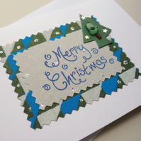 Handmade Sea Glass Christmas Tree Embellished Christmas Card