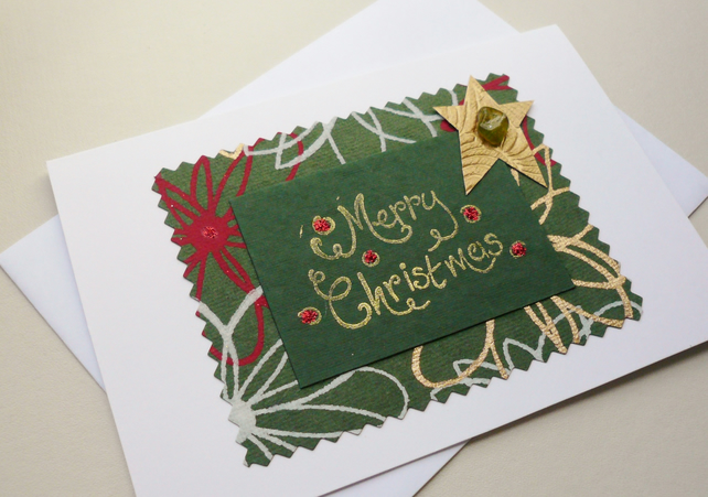 Sea Glass Embellished Christmas Card