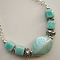 Pale Turquoise Ceramic Bead Collar Necklace   KCJ756