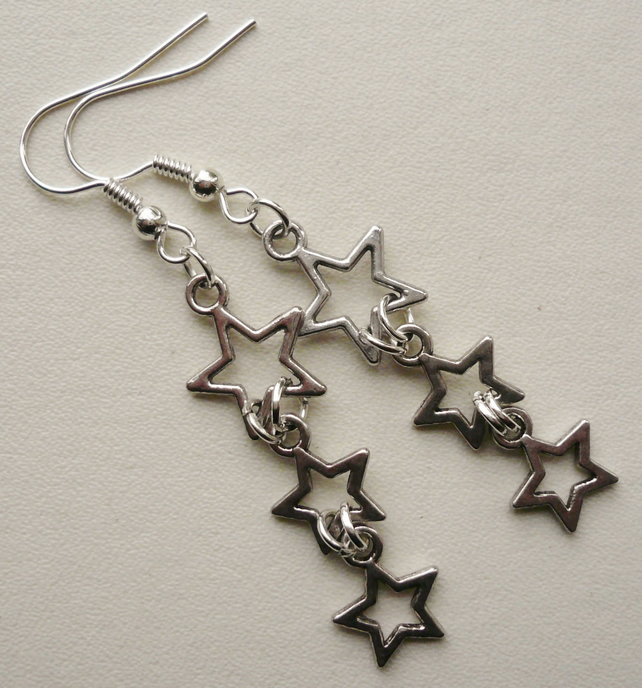 Triple Tibetan Silver Star Earrings   KCJ795