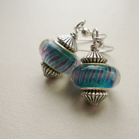 Turquoise and Purple Glass  Earrings   KCJ808