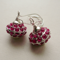 Bright Pink Glass Jewel Encrusted Rondelle Silver Bead Dangle Earrings   KCJ809