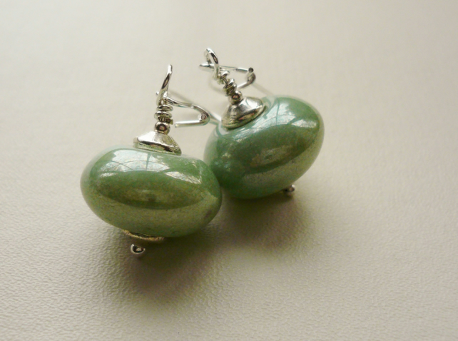 Soft Pastel Green Glass Earrings   KCJ811