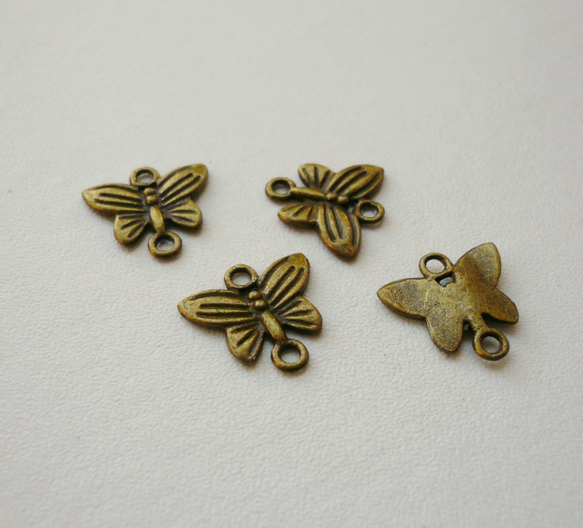 4 Antique Bronze Butterfly Connectors