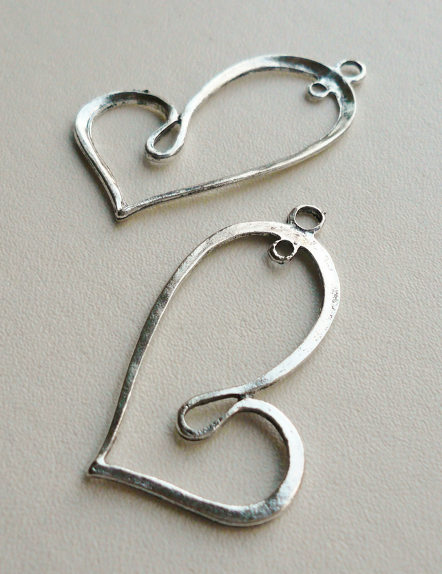 2 Tibetan Silver Outline Heart Pendants