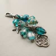 Turquoise Blue Glass Bead Silver Seashore Marine Boating Handbag Charm  KCJ880