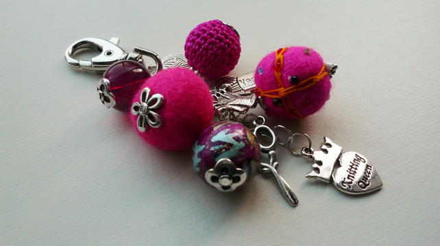 Hot Pink Knitting Themed Handbag Charm  KCJ862