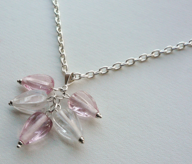 Pale Pink and Clear Cluster Necklace   KCJ371