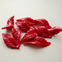 10 Large Red Acrylic Leaves