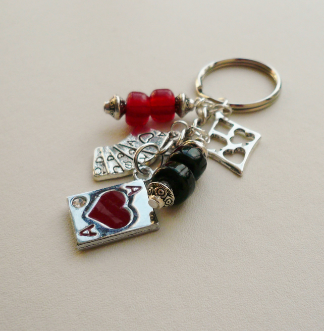 Black and Red and Silver  'Ace of Hearts' Keyring Bag Charm  KCJ927