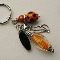 Orange and Black Mixed Bead Silver Cat Keyring   KCJ933