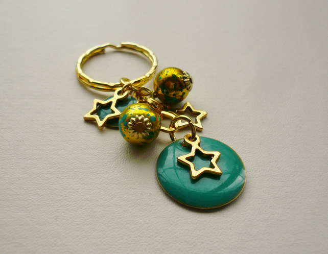 Turquoise Painted Enamel Disc and Gold Plate Star Keyring   KCJ947