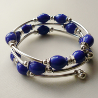 Blue Ceramic Beaded Wrap Around  Memory Wire Bracelet   KCJ962