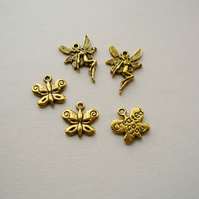 5 Mixed Gold Tone Charms