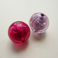 2  Large Foil Lined Round Beads