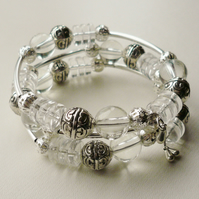 Clear Glass Silver Bead Memory Wire Wrap Around Bracelet   KCJ978