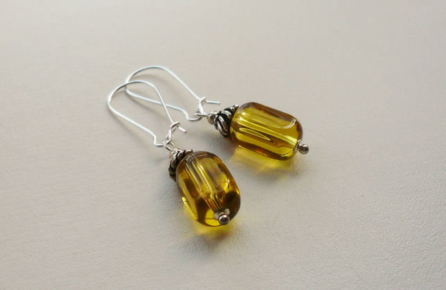 Clear Gold Glass Square Tube Earrings   KCJE4