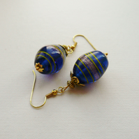 Royal Blue Painted Indian Glass Earrings  KCJE39