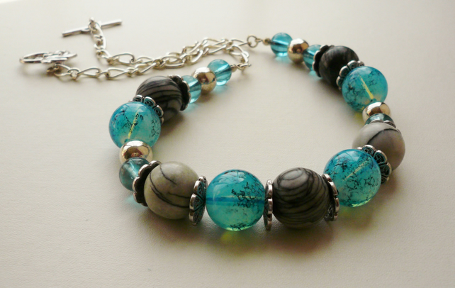 Aqua Blue Glass and Grey Jasper Silver  Beaded Necklace   KCJ350