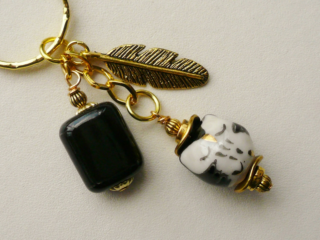Black White and Gold  Ceramic  'Little Owl' Keyring Bag Charm   KCJ1000