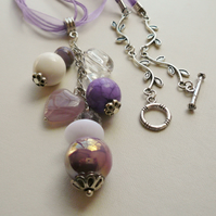 Lilac Cluster Mixed Bead Necklace   KCJ431