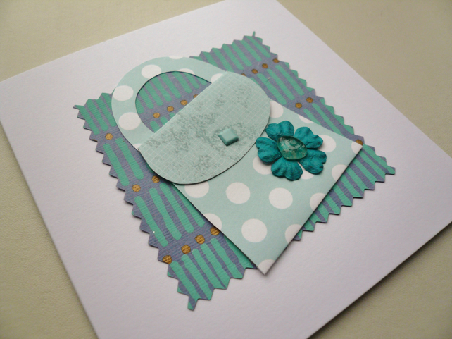 Blue Handbag  Sea Glass Embellished Greetings Card