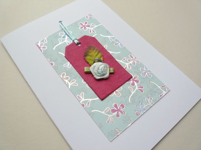 Pale Blue Flower and Sea Shell Embellished Greetings Card