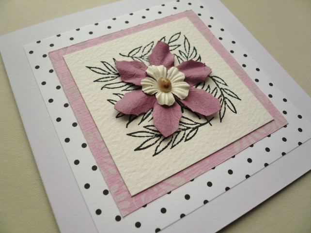 Pink Flower and Sea Shell Embellished Greetings Card