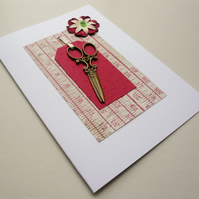 Sewing Scissors Sea Glass Embellished Greetings Card
