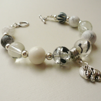 Clear, White, Black and Grey Mixed Bead Elephant Charm Bracelet   KCJ647