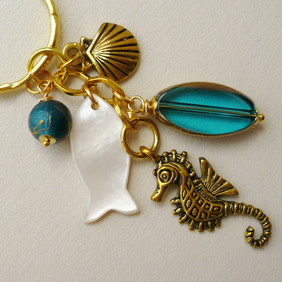 Keyring Bag Charm Blue Glass MoP Gold Plated Sealife   KCJ1045