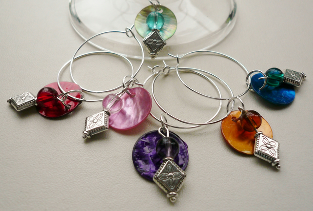 Silver Diamond Shaped Bead and Shell Disc Wine Glass Charms Set of 6  WG7