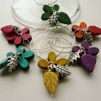Flower and Leaves Wine Glass Charms  KCJWG1041