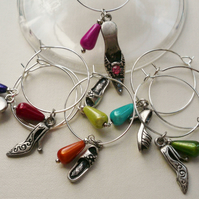 8 Antique Silver Shoe Themed Wine Glass Charms    KCJWG99