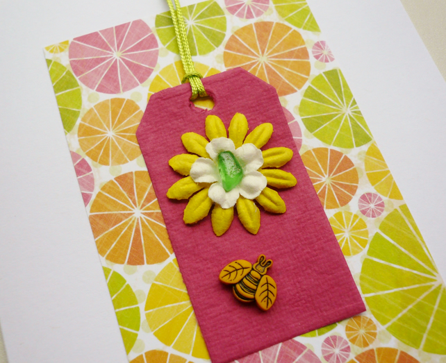 Pink and Citrus Bee Sea Glass Embellished Greetings Card