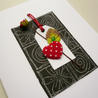 Red Rose and Heart Sea Glass Embellished Greetings Card