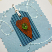 Light Blue and Rusty Heart Sea Glass Embellished Greetings Card