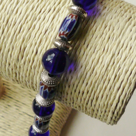 Blue Glass Beaded and Tibetan Silver Bracelet  KCJ332