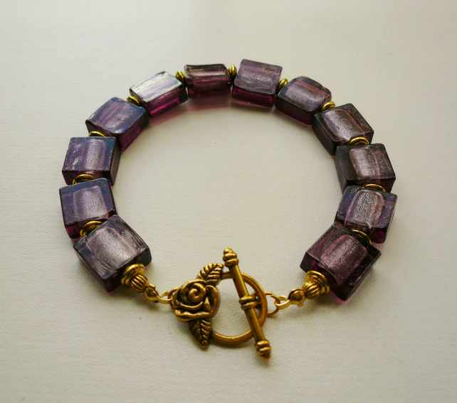 Purple Glass Foil Lined Square Bead Gold Tone Bracelet   KCJ367