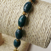 Dark Blue Magnesite Tube and Gold Tone Bracelet  KCJ365