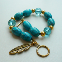 Turquoise Magnesite Tube Bead and Gold Tone Bracelet  KCJ364