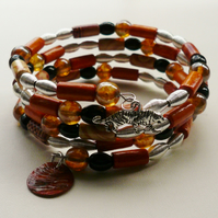 Black, Tan and Orange Mixed Bead  Silver Memory Wire Wrap Bracelet   KCJ1106